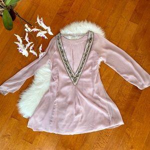 dusty pink low back beaded dress